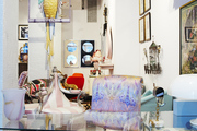 Tons of colorful decor and vibrant furniture in this eclectic retail space.