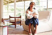 Actress Joy Bryant in the living room of her Glendale, California home