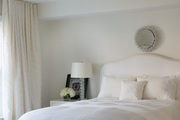 Contemporary white bedroom with white bedding.