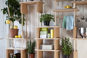 Modular shelving with plants and kitchen supplies.