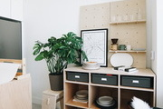 Shelves in a work space.