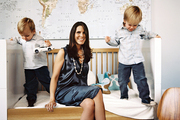 Liz Cruise with her sons in their Manhattan apartment