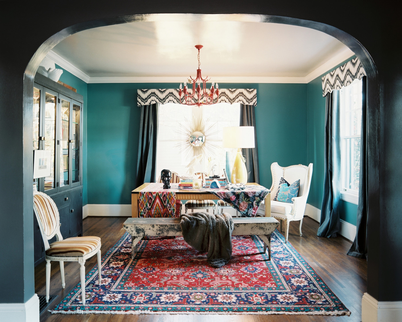 Bohemian dining room photos 52 of 69 for Peacock dining room ideas