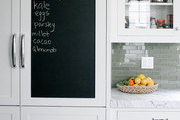 A chalkboard on the front of a kitchen cabinet door