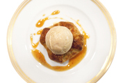 Apple dumplings with cinnamon ice cream