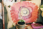 A floral-print pillow and a potted plant on a wooden chair
