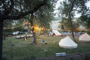 An overview of a festive friendsgiving with tents.