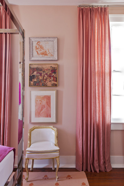April 2013 Issue - A French-style accent chair beside pink curtains