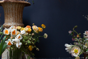 A rustic table with vases of tulips, ranunculus, and flowering branches.