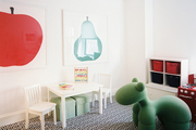 Playful art and toys in a kid's room