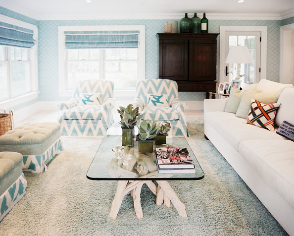 print a pair of chevron armchairs in a blue and white living room