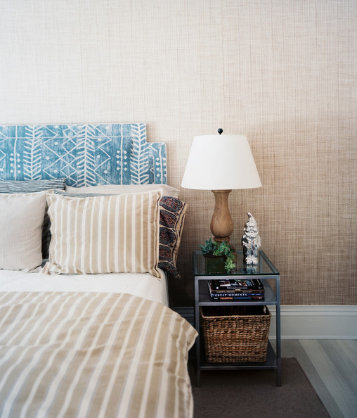 Creative Headboard - Tan and blue colors in a guest room