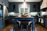 Tiled Moroccan-style kitchen and kitchen island