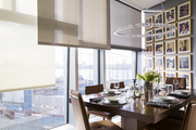A dining room overlooks New York City's Chelsea neighborhood
