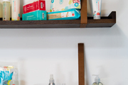 Shelves of Honest Company products at Jessica Alba's office