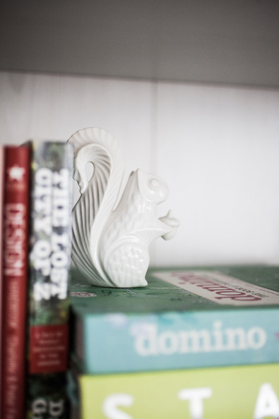 Green Bookshelf - A ceramic squirrel sits atop a stack of books