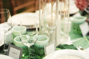 Elegant place settings at an outdoor dinner party