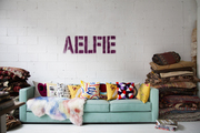 The sofa in Aelfie's Brooklyn studio