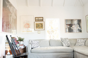 Vaulted ceilings open up this bohemian living room.
