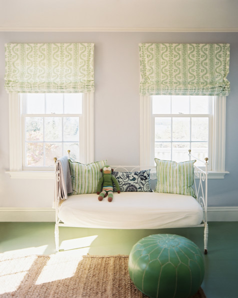 January February 2013 Issue - A green pouf and a daybed in a room with patterned roman shades