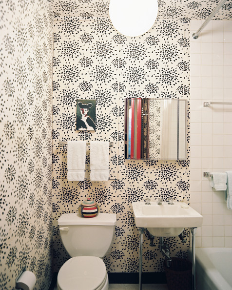 Fun wallpaper modern bathrooms lonny - Wallpaper for bathrooms ideas ...