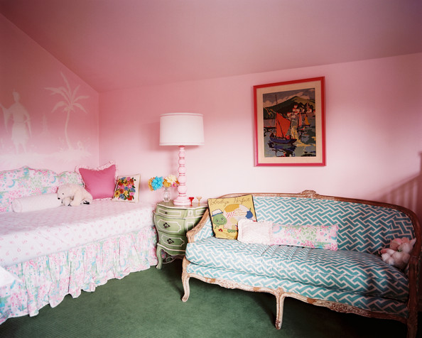 Kids' Room Hollywood Regency - A blue patterned couch in a pink girl's room