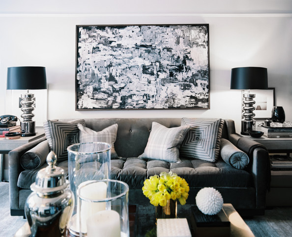 Living room a living space in shades of gray white and black