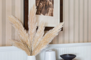 A framed vintage print hangs on wallpaper above a shelf with dry pampas grass in a vase.