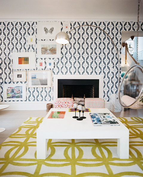 Modern Living Room - A mix of patterns grounded by a square white coffee table