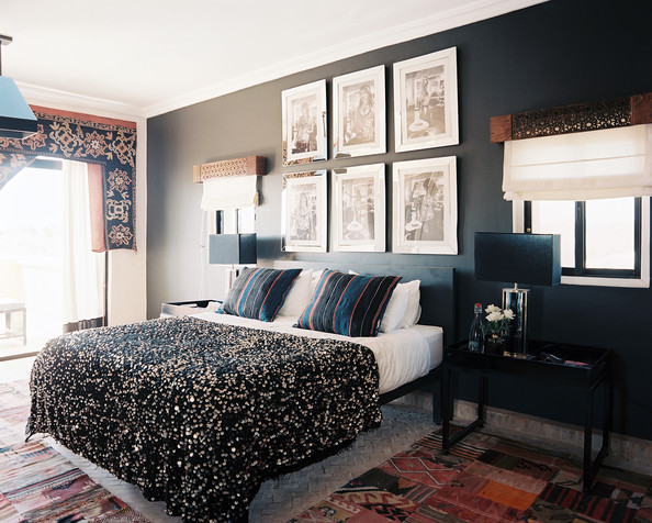 One wall painted darker photos design ideas remodel - Black painted bedroom walls ...