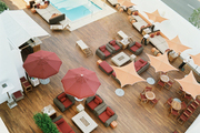 Poolside umbrellas and outdoor lounge areas