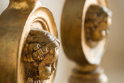 A pair of gilded candlesticks