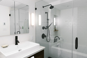Modern black and white bathroom.