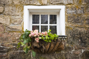 An iron window box of flowers outside a stone building