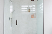 A streamlined glass shower.