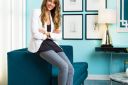 Jessica Alba on CB2's Avec Peacock sofa at her Honest Company office