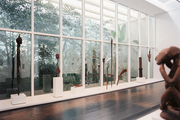 Sculptures on display in the Menil Collection's African art gallery