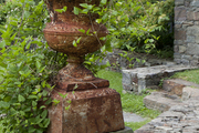 A plant potted in a weathered urn