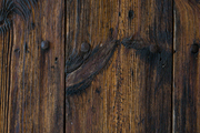 A richly grained wood door