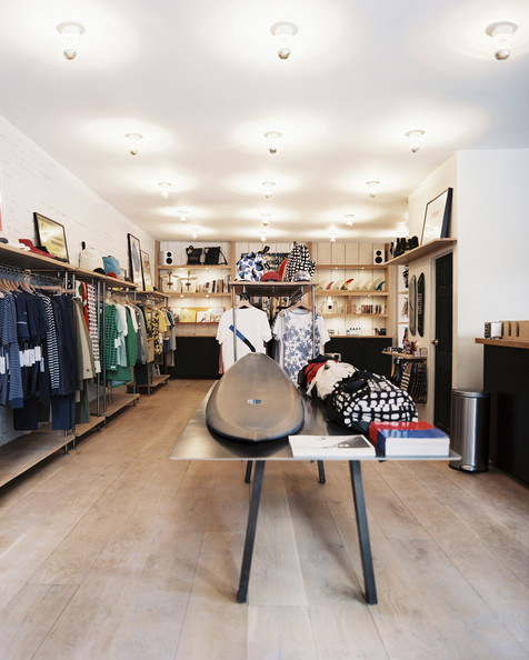 retail store design surfboards and apparel on display in a retail