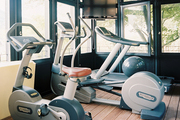Exercise equipment in a workout space