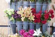 Fresh-cut blooms in galvanized tins at Napa Valley's Poor House