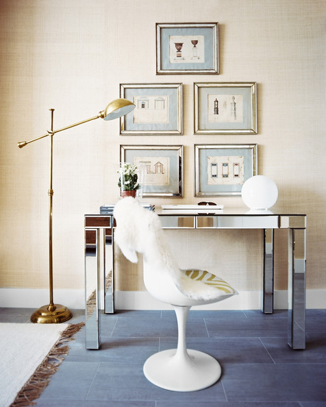 Work Space - A mirrored Parsons desk paired with a midcentury tulip chair