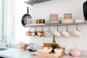Open shelving in an apartment.