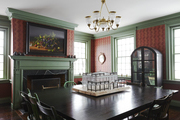Traditional green and red dining room.