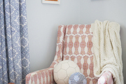 Block-printed fabric in a child's nursery
