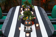 A custom runner on an outdoor table on Irene Edwards's rooftop patio