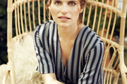 Lake Bell on a hanging chair in her outdoor living space