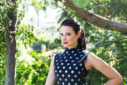Actress Katie Lowes on the balcony of her LA home