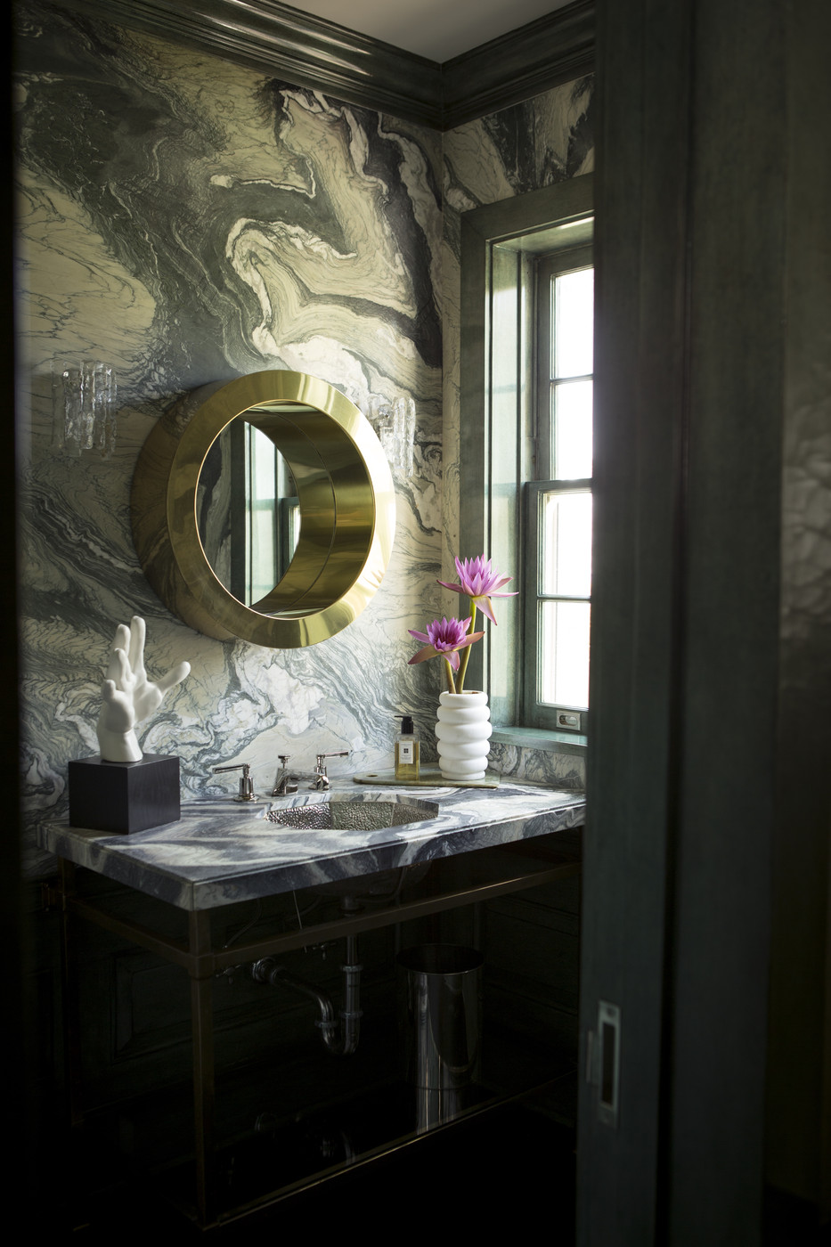 Marbleized Powder Room Wallpaper Design Ideas Lonny